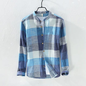 Linen Shirts Men's Casual Shirts Patchwork Long Sleeve Shirt-Shirt-LeStyleParfait.Com