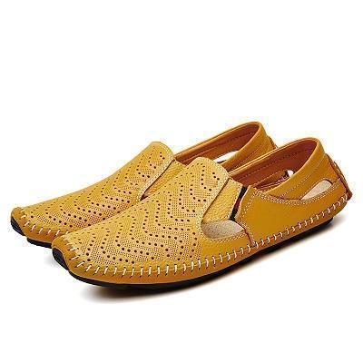 Loafers Genuine Leather Driving Flat Shoes Shoes LeStyleParfait.Com Yellow 7