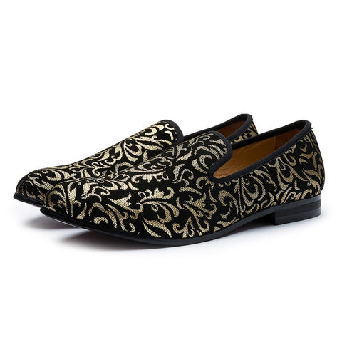 Luxury Gold Prints Men's Loafer Shoes - Men's Shoes Casual-Shoes-Black-11-LeStyleParfait.Com