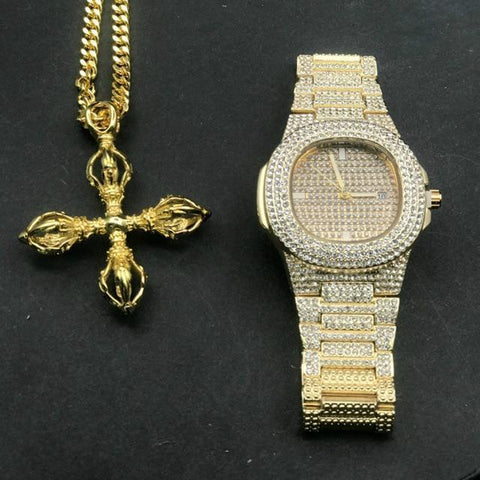 Luxury Jewelry Set, Watch & Cross Chain, Gold Diamond Men Jewelry-Jewelry Set-LeStyleParfait.Com