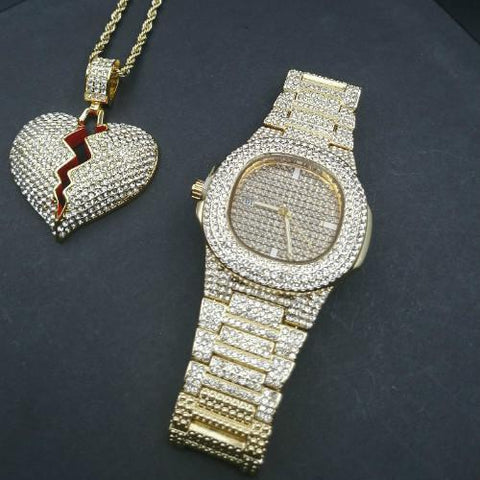 Luxury Jewelry Set, Watch & Necklace, Broken Heart Men Jewelry-Jewelry Set-LeStyleParfait.Com