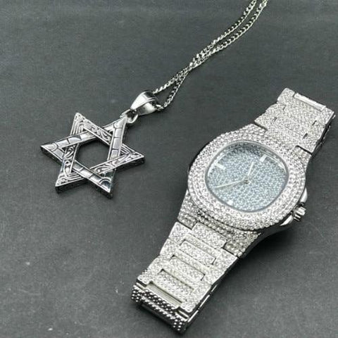 Luxury Jewelry Set, Watch & Necklace, Gold Diamond Star Men Jewelry-Jewelry Set-LeStyleParfait.Com