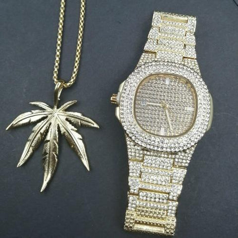 Luxury Jewelry Set, Watch & Necklace, Plant Men Jewelry-Jewelry Set-LeStyleParfait.Com