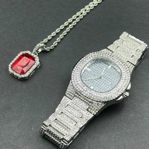 Luxury Jewelry Set, Watch & Necklace, Stone Men Jewelry-Jewelry Set-LeStyleParfait.Com