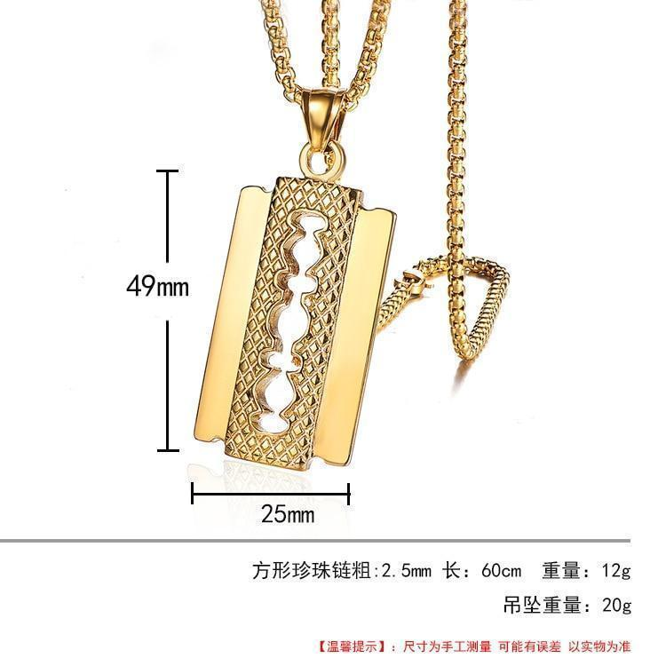 Luxury Jewelry Set, Watch & Razor Necklace, Gold Diamond Men Jewelry-Jewelry Set-LeStyleParfait.Com