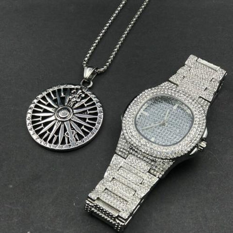 Luxury Jewelry Set, Watch & Timer Necklace, Gold Diamond Men Jewelry-Jewelry Set-LeStyleParfait.Com