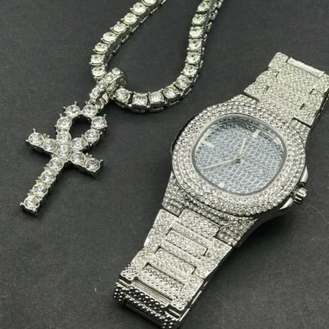 Luxury Silver Jewelry Set, Watch & Necklace, Cross Pendant Men Jewelry Jewelry Set LeStyleParfait.Com Online Shop Silver 1