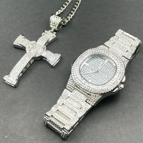 Luxury Silver Jewelry Set, Watch & Necklace, Cross Pendant Men Jewelry-Jewelry Set-LeStyleParfait.Com