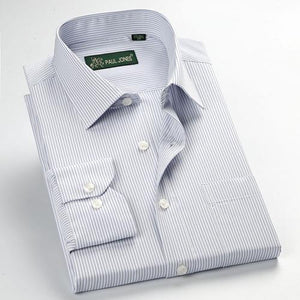 Men Dress Shirts Striped Shirts With Pocket-Shirt-LeStyleParfait.Com
