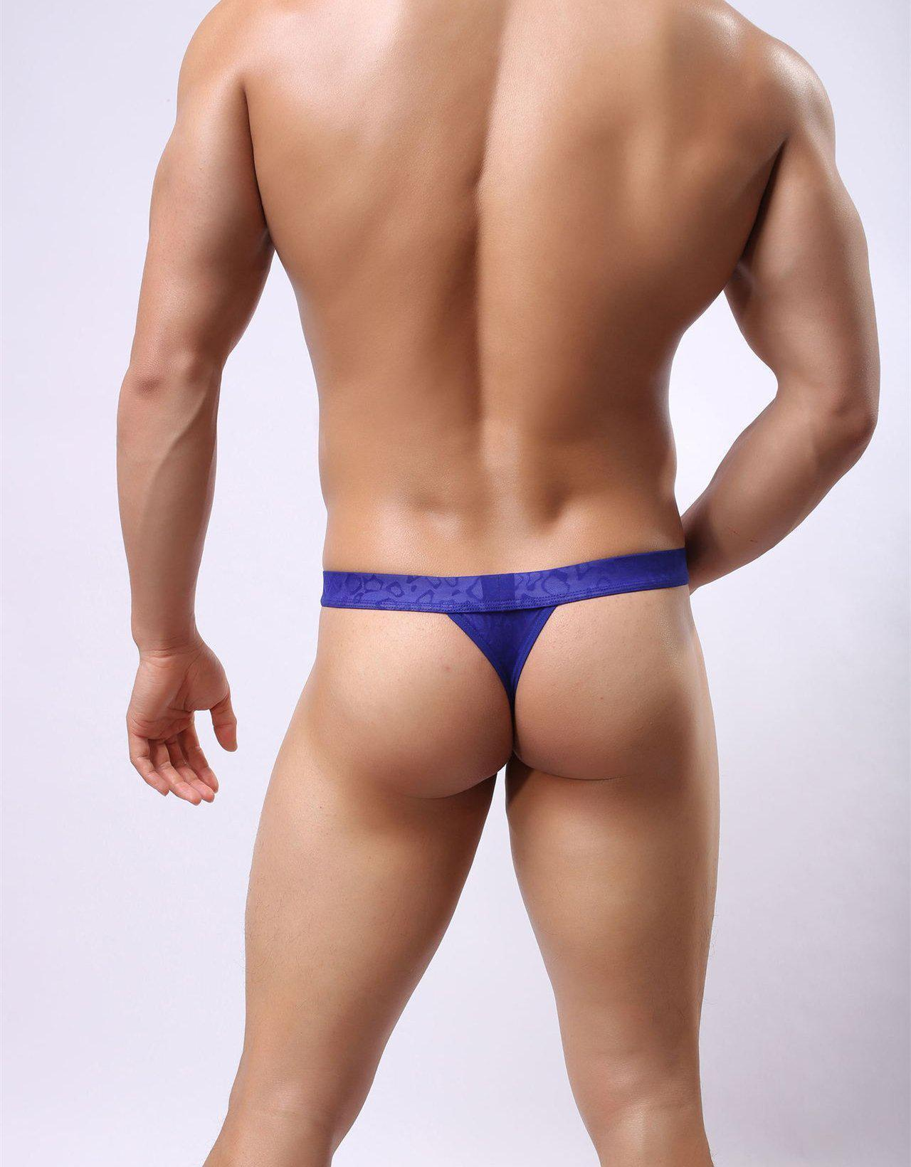 Men Sexy Lace Transparent G-string Thong-Underwear-LeStyleParfait.Com