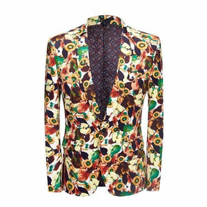 Men's Blazer Casual Party Blazer Slim Fit Printed-Blazer-LeStyleParfait.Com