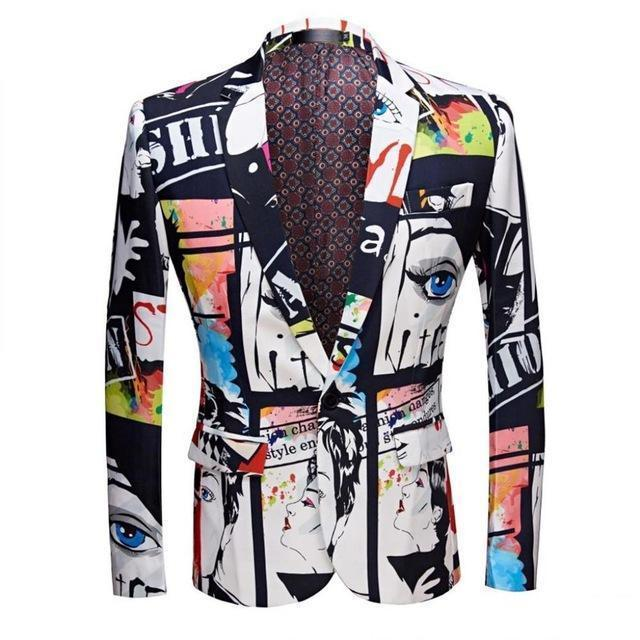 Men's Blazer Face Print Casual Party Blazer Slim Fit-Blazer-LeStyleParfait.Com