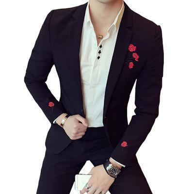 Men's Blazer Floral Embroidered Men's Blazer Black-Blazer-LeStyleParfait.Com