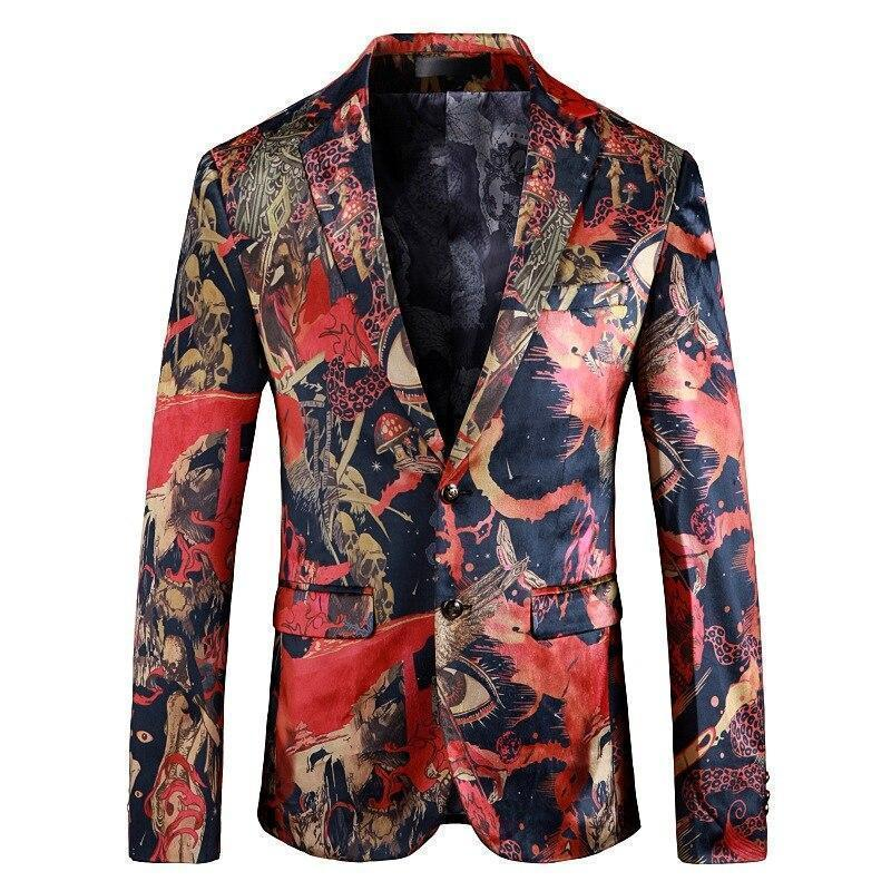 Men's Blazer Printed Casual Blazer Slim Fit-Blazer-LeStyleParfait.Com