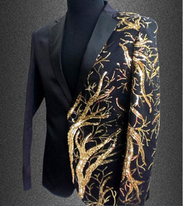 Mens Blazers With Embroidery Gold Sequins, Men's Fashion Blazer, Plus Size, Red, Black-Blazer-LeStyleParfait.Com