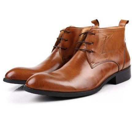Men's Ankle Lace-up Full Grain Leather Boots Shoes LeStyleParfait.Com