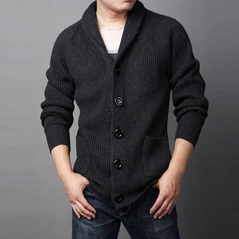 Men's Cardigans Mens Winter Sweaters Grey Black-Sweater-LeStyleParfait.Com