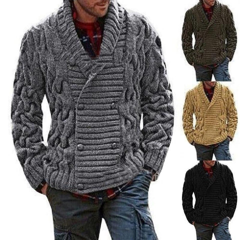 Crocheted Double-Breast Cardigan For Men Sweater LeStyleParfait.Com Online Shop
