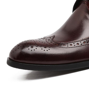Men's Chelsea Boots Genuine Leather Carved Brogue Men's Shoes-Shoes-LeStyleParfait.Com