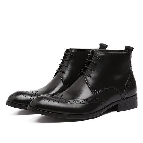 Men's Chelsea Boots Leather Carved Brogue Shoes Shoes LeStyleParfait.Com Black 6