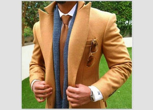 Men's Coats Tweed Slim Fit Long Coats-Coat-LeStyleParfait.Com