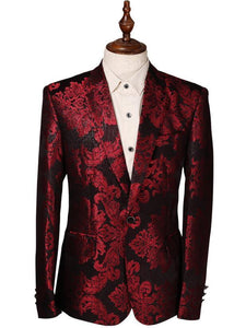 Men's Flower Print Blazer, Mens Wedding Party Blazer, Big Size Slim Fit Blazer, Maroon-Blazer-LeStyleParfait.Com