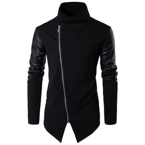 Men's Jacket, Leather Sleeves Turtleneck Jacket-Jacket-LeStyleParfait.Com