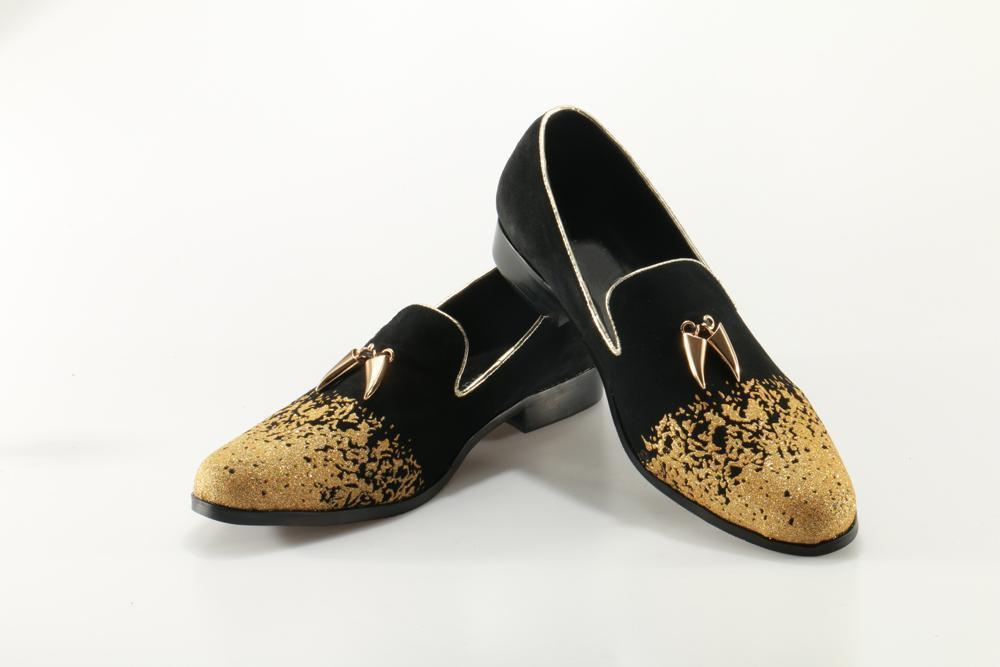 Men's Loafers Luxury Gold Painted Suede Shoes-Shoes-LeStyleParfait.Com