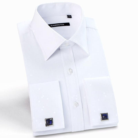 Men's Luxury Shirts, French Cuff, Dress Shirts, Formal Twill Shirt (Cufflinks Included)-Shirt-LeStyleParfait.Com