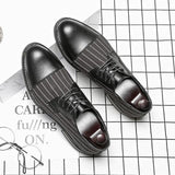 Men's Oxfords Striped Men's Dress Shoes-Shoes-LeStyleParfait.Com