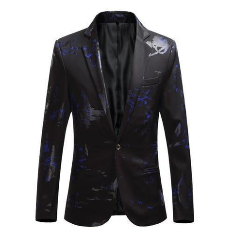 Men's Party Blazer With Blue Prints-Blazer-LeStyleParfait.Com