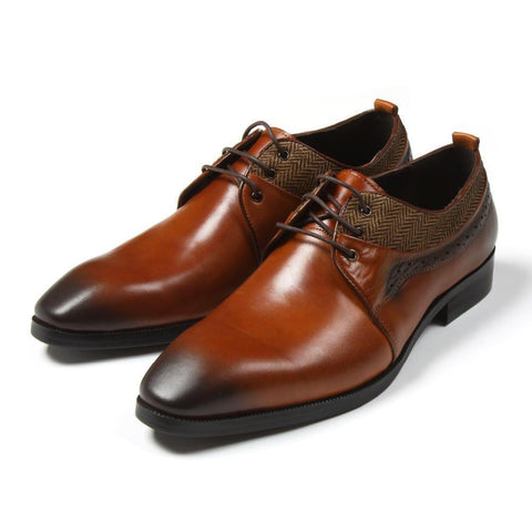 Men's Shoes Dress Shoes Genuine Leather Shoes Brown-Shoes-LeStyleParfait.Com