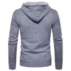 Men's Sweater Buckle Winter Sweater Fleece Cardigan-Sweater-LeStyleParfait.Com