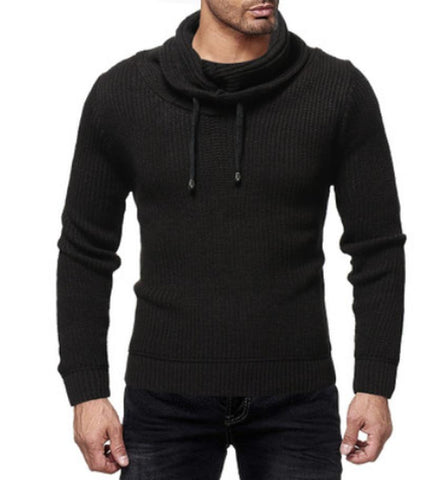 Men's Sweater Turtleneck Warm Pullover With Draw Strings-Sweater-LeStyleParfait.Com