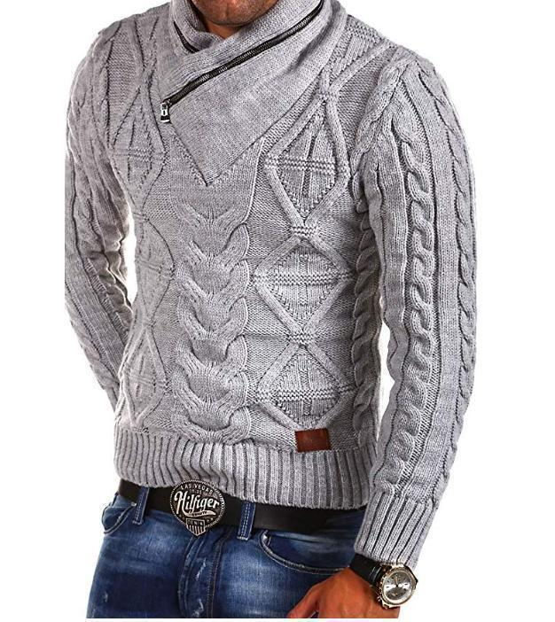 Men's Sweater V-Neck Zipper Turtleneck Sweater Pullover-Sweater-LeStyleParfait.Com