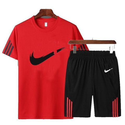 Men's Tracksuit T-Shirt and Shorts Sportswear Red-Tracksuit-LeStyleParfait.Com