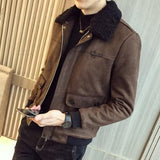 Men's Winter Jacket Suede Leather Jacket-Jacket-LeStyleParfait.Com