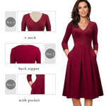 Middleton V-Neck Flare Swing Dress-Dress-Online-USA-UK-AU-LeStyleParfait.Com-