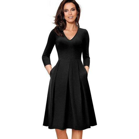 Middleton V-Neck Flare Swing Dress-Dress-Online-USA-UK-AU-LeStyleParfait.Com-Black-L