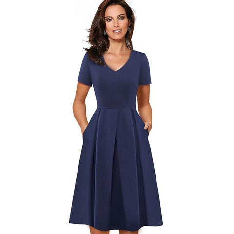 Middleton V-Neck Flare Swing Dress-Dress-Online-USA-UK-AU-LeStyleParfait.Com-Navy Short Sleeve-M