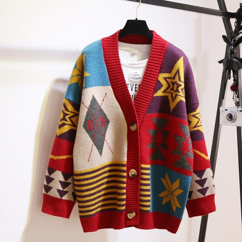 Multi-Color Oversized Cardigan Sweater For Women-Sweater-LeStyleParfait.Com