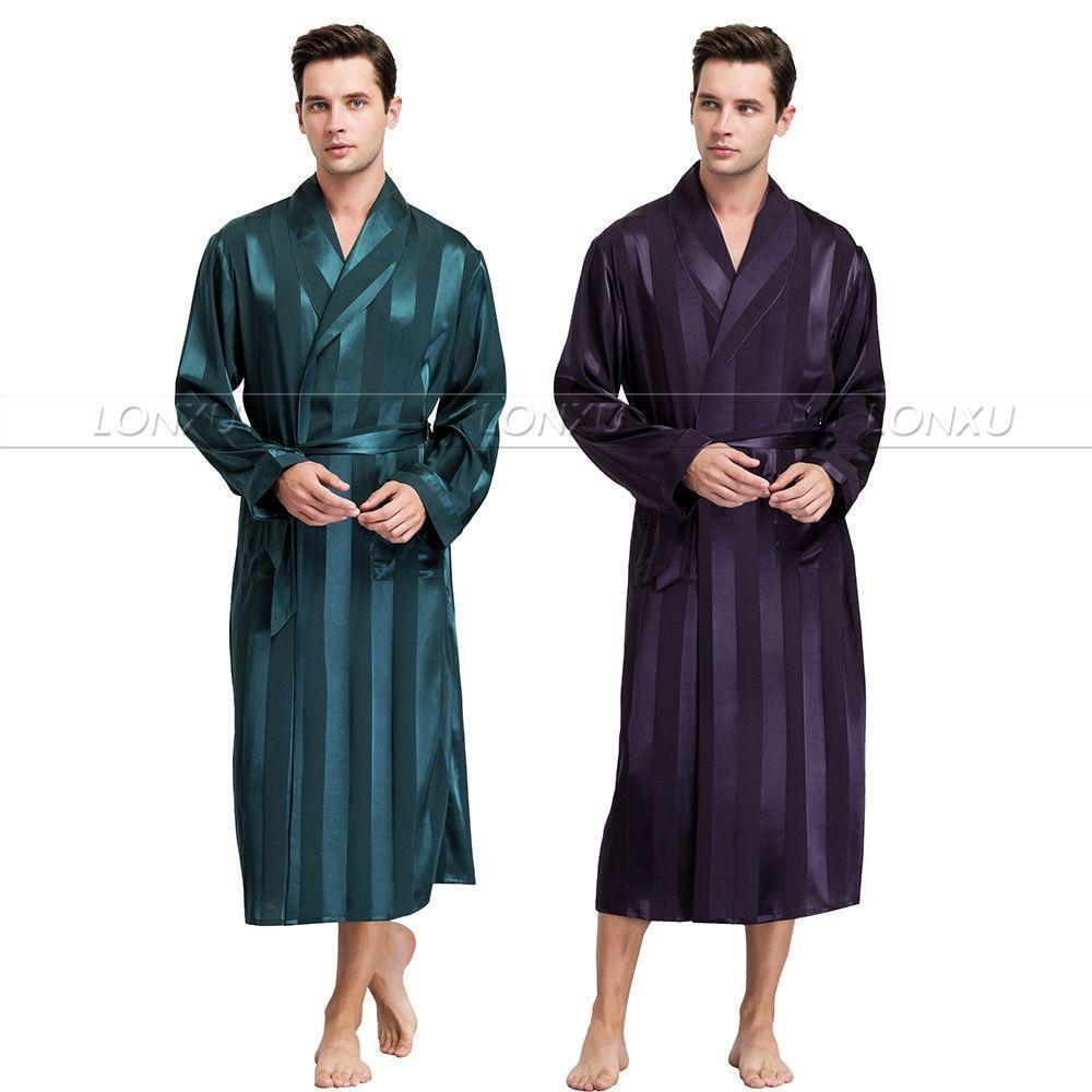 Night Games Men's Striped Nightgown-Men's Sleepwear-LeStyleParfait.Com