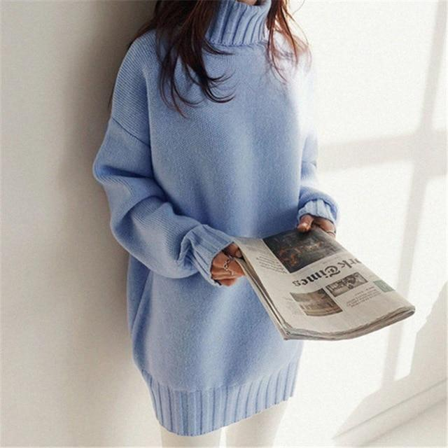 Normcore Oversized Sweater - Turtleneck Sweaters Online-LeStyleParfait.Com