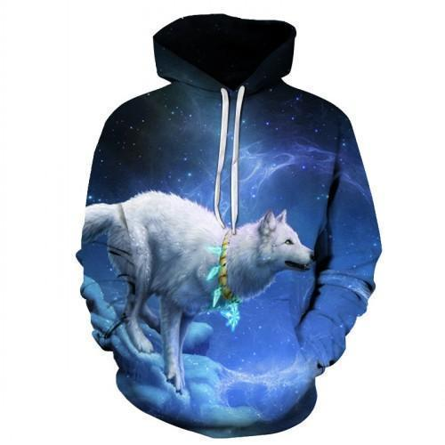 North Pole Wolf Hoodie, White-Hoodies-Sweatshirts-Online-S-Blue Black-LeStyleParfait.Com