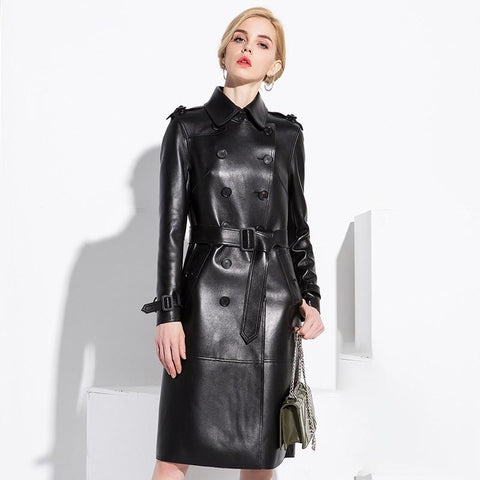 NYC Leather Trench Coat For Women Coat LeStyleParfait.Com Black L