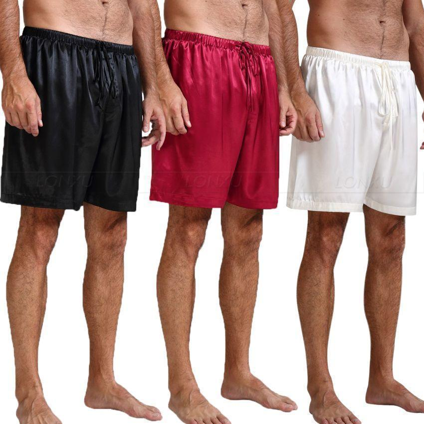Off Track Men's Silk Pajama Shorts-Men's Sleepwear-LeStyleParfait.Com