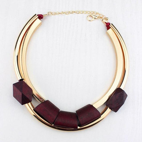 Omotola Vintage African Necklace Necklace LeStyleParfait.Com Dark red 46cm
