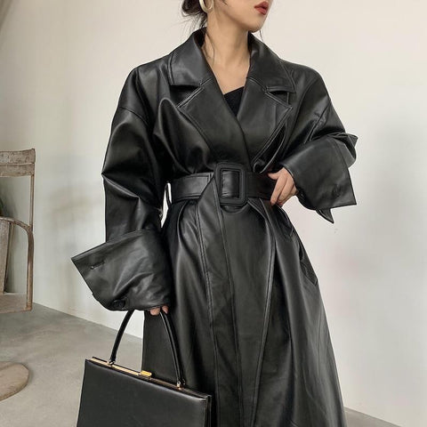 Oversized Trench Coat For Women, Black-Coat-LeStyleParfait.Com