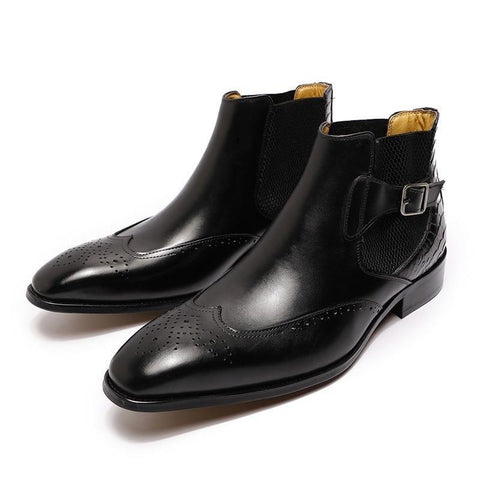 Oxford Brogue Ankle Boots For Men-Shoes-LeStyleParfait.Com