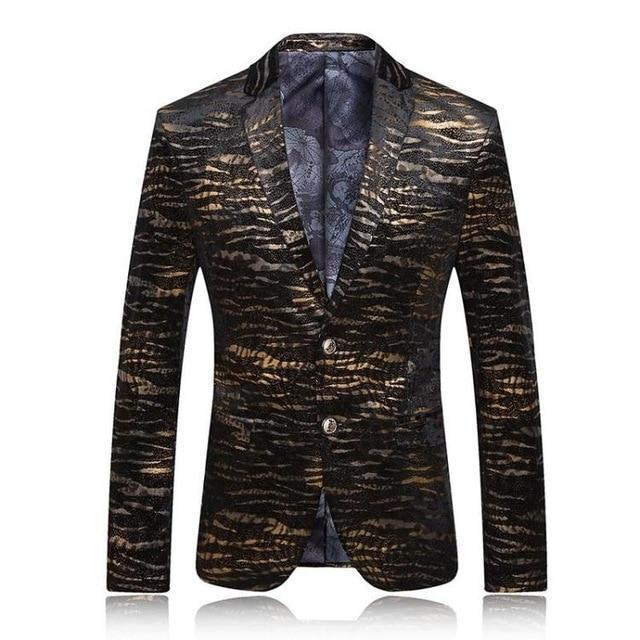 Party Blazer Men's Casual Blazer With Gold Prints-Blazer-LeStyleParfait.Com